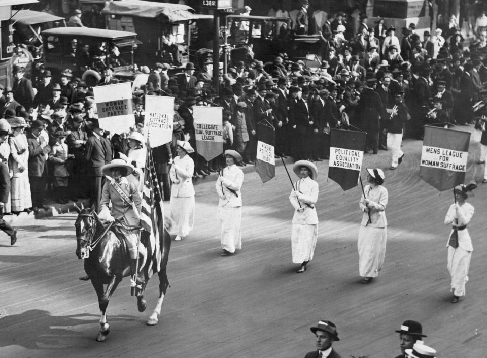 3rd May 1913:  Grand Marshal Inez Milholland Boissevain (1886 - 1916) leads a parade of 30,000 representives of the various Women's Suffrage associations through New York City.