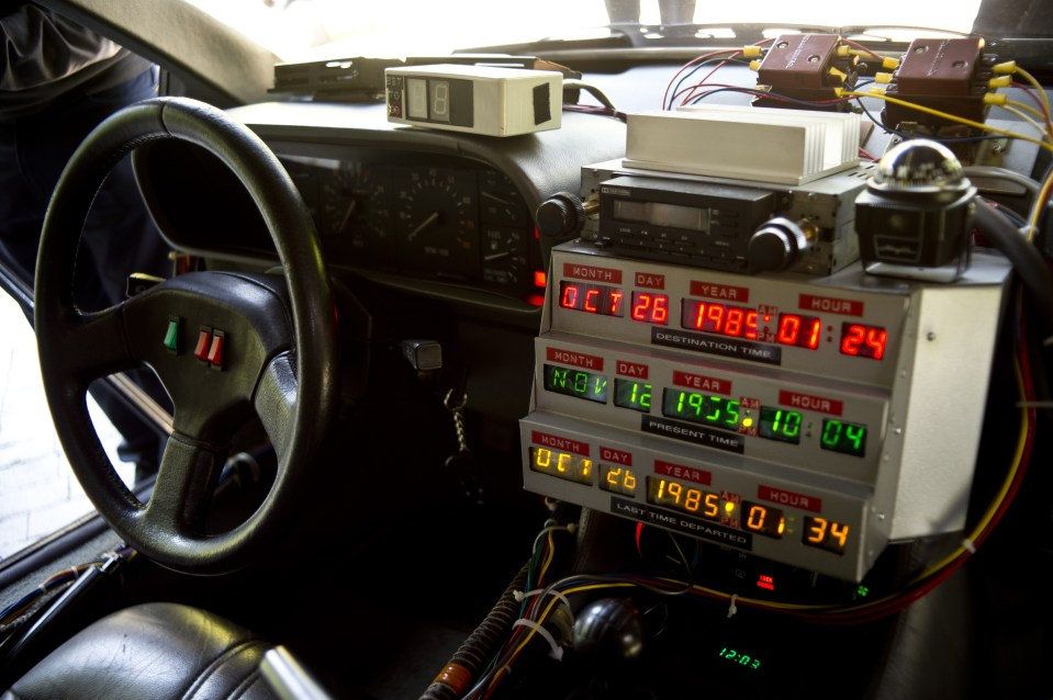 "Picture taken inside a replica of the DeLorean, a time-machine vehicle which appeared in the movie "" Back to the Future."""