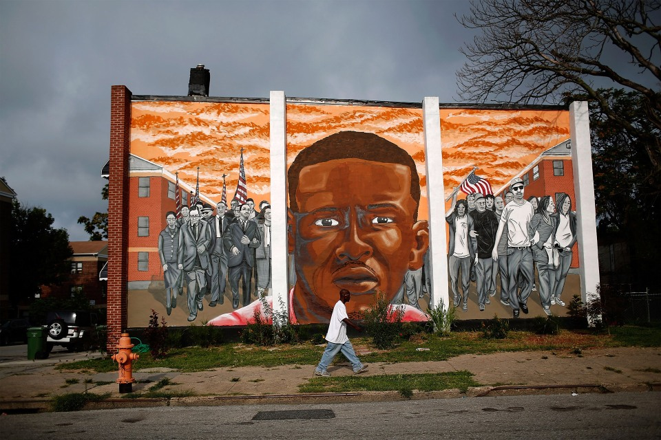 A mural of Freddie Gray near the location where he was arrested is pictured in Baltimore, Maryland in 2016.