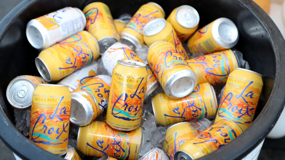 A bucket of tangerine-flavored LaCroix.