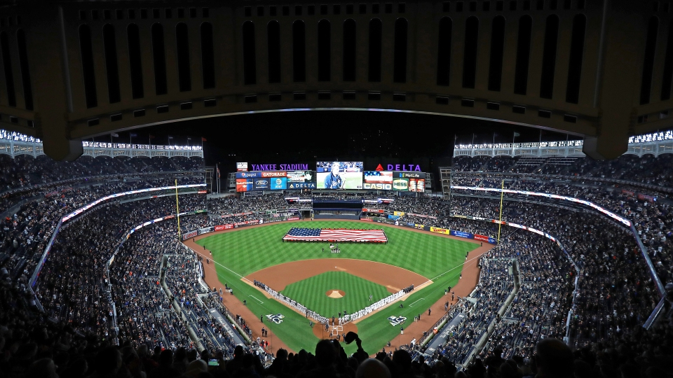 A general view as the national anthem is performed at Yankee Stadium on October 16, 2017 in the Bronx borough of New York City.