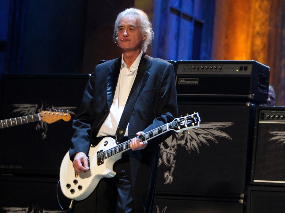 """Jimmy Page performs onstage during the 24th Annual Rock and Roll Hall of Fame Induction Ceremony in 2009. Page's guitar solo in """"Stairway to Heaven"""" is the subject of an ongoing copyright infringement lawsuit."""