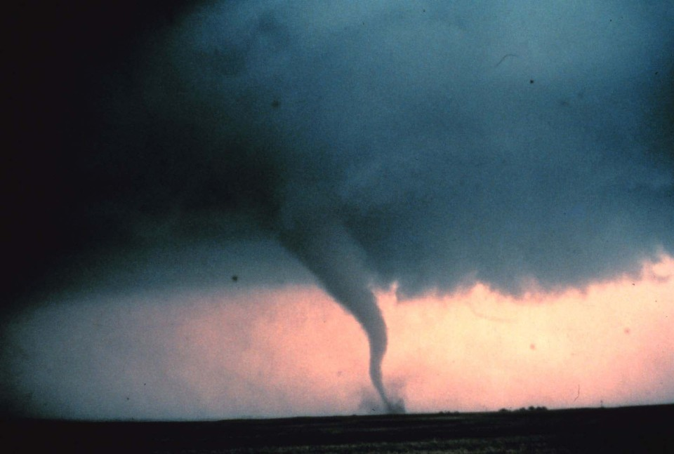 View of tornado in Cordell, Oklahoma on May 22, 1981