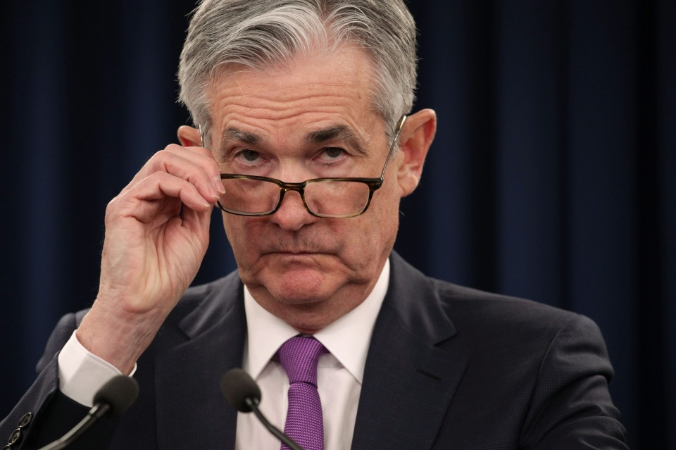 WASHINGTON, DC - JANUARY 30:   Federal Reserve Board Chairman Jerome Powell pauses during a news conference after a Federal Open Market Committee meeting January 30, 2019 in Washington, DC. The Fed has decided to leave interest rates unchanged. (Photo by Alex Wong/Getty Images)