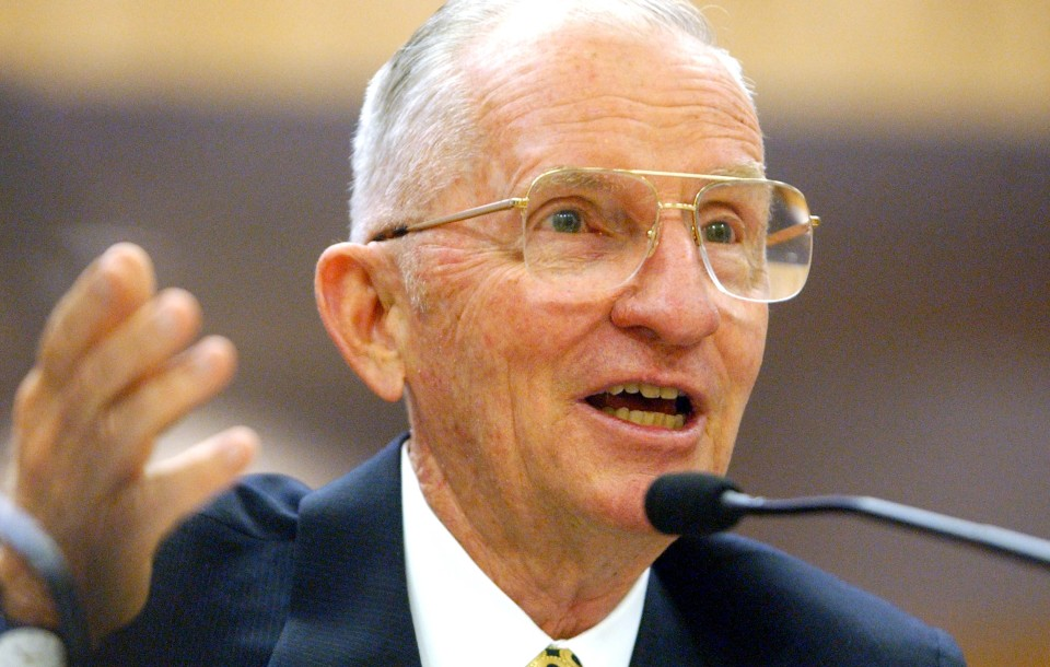 H. Ross Perot before a California Senate committee in 2002.