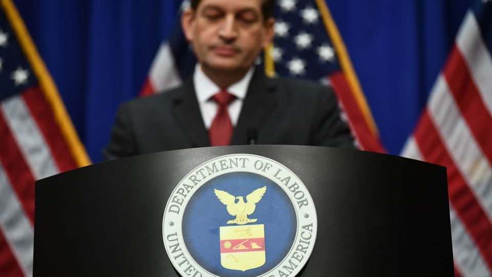 Labor Secretary Alexander Acosta gives a press conference at the U.S. Department of Labor on July 10, 2019 in Washington, D.C.
