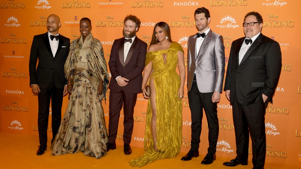 """Part of the cast and crew at  the European premiere of Disney's """"The Lion King"""" at Odeon Luxe Leicester Square on July 14, 2019 in London, England."""