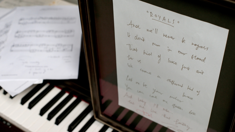 "The original handwritten lyric sheet for the song ""Royals"" by New Zealand musician Lorde."
