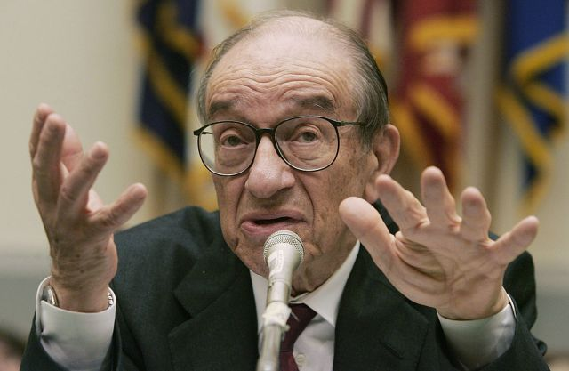 """WASHINGTON - JUNE 09: Federal Reserve Chairman Alan Greenspan testifies before the congressional Joint Economic Committee June 9, 2005 on Capitol Hill in Washington, DC. Greenspan said the economy seems to be on """"reasonably firm footing,"""" with inflation under control. (Photo by Joe Raedle/Getty Images)"""