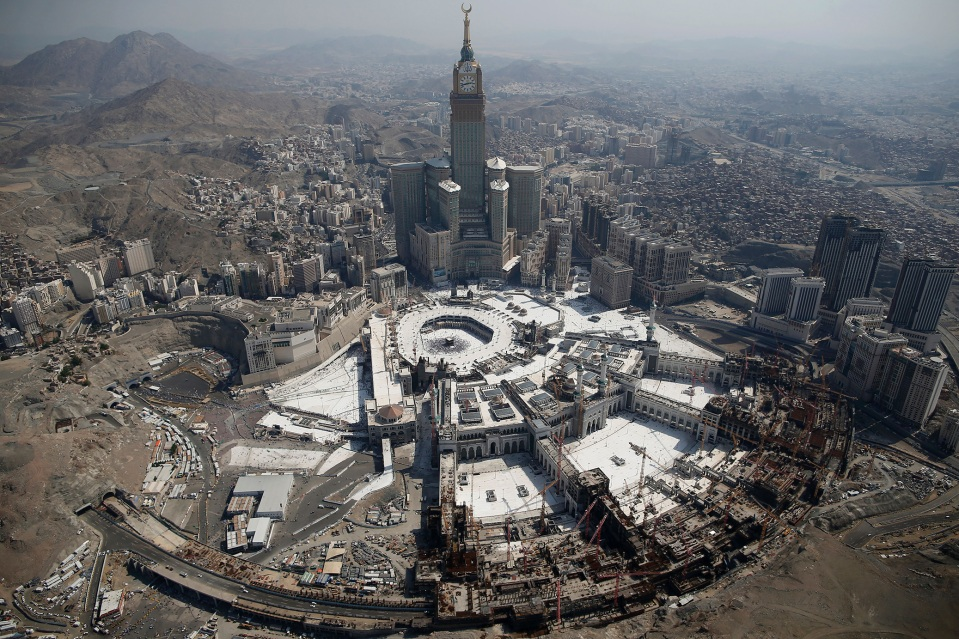 The clock tower and the Grand Mosque in Saudi Arabia's holy Muslim city of Mecca.