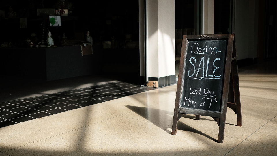 """A """"closing sale"""" sign stands outside one of the last few open stores at the Schuylkill Mall in Frackville, Pennsylvania. The mall closed in 2018."""