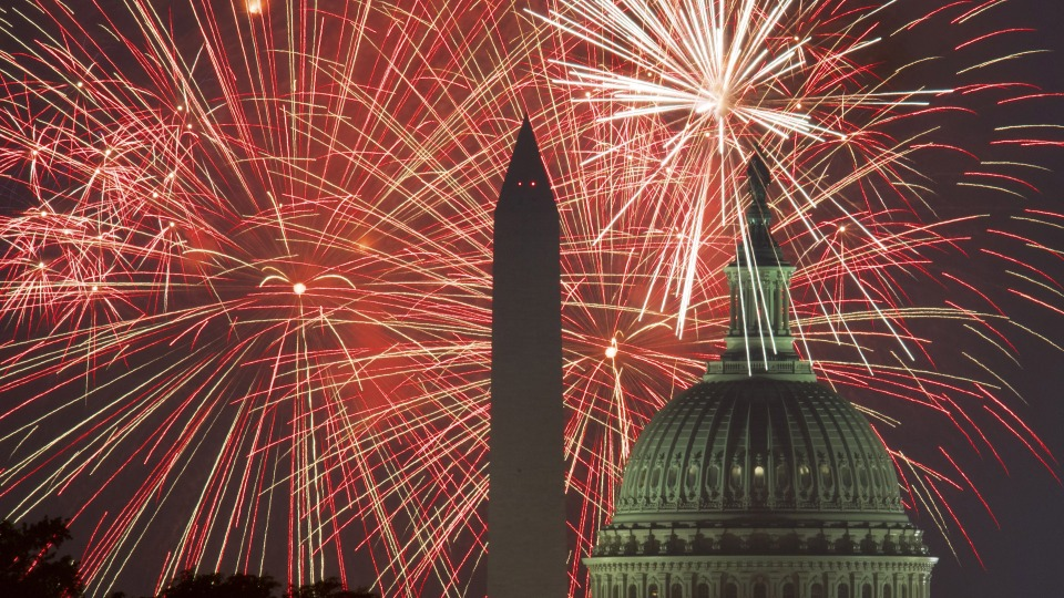 Fireworks explode over the National Mall on Fourth of July in 2017 in Washington, DC.