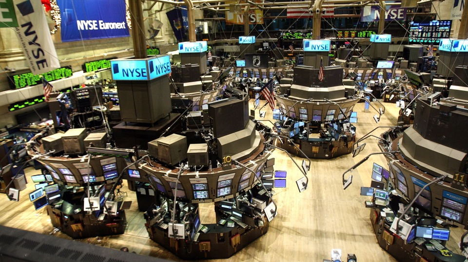 An empty trading floor at the New York Stock Exchange.