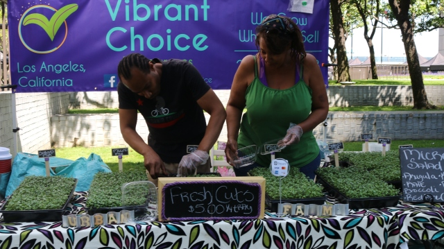 """Maria Blakely, sells microgreens. When asked about the federal funds rate, she says, """"I think that if it's going down, it's good for business. If not, It's going to affect small businesses like ours a little bit."""""""