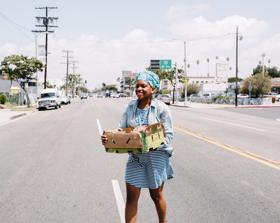 South LA resident Olympia Auset started a produce stand three years ago and now wants to expand into a physical store.