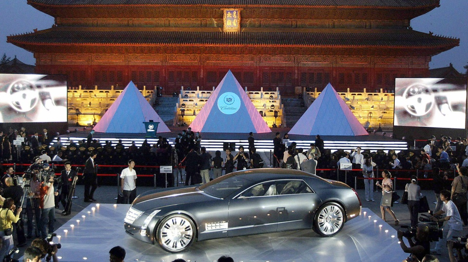A luxury Cadillac XLR on display at a ceremony in Beijing, China in 2004.