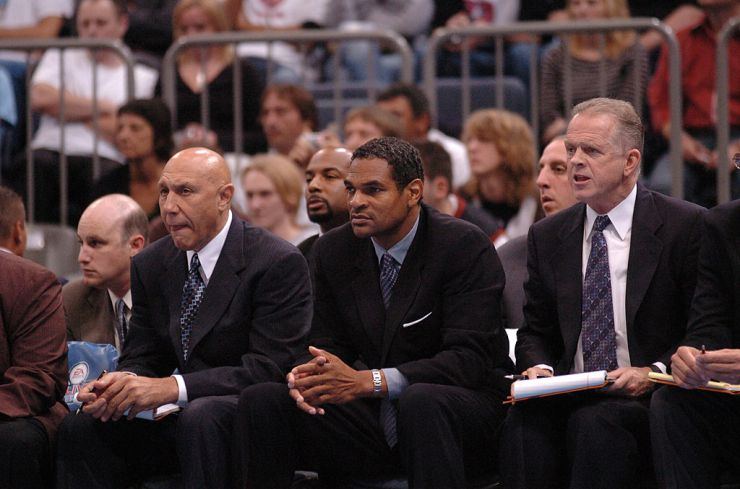 Maura Cheeks' father, Maurice Cheeks, coaching the Philadelphia 76ers on October 11, 2006 at the Kölnarena in Cologne, Germany.