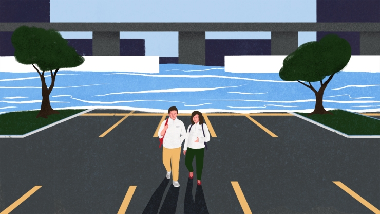 An illustration of water flooding a parking lot, as two people walk away from the water