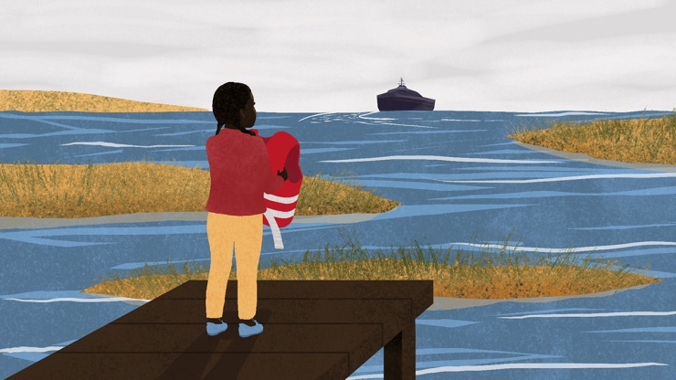 A Black girl stands on a dock, holding up a life jacket, as a boat sails into the distance
