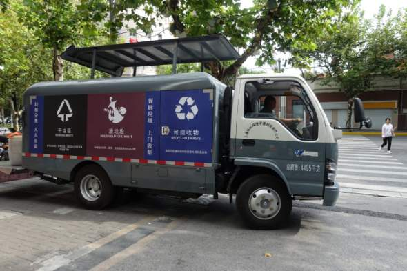 One of Shanghai's new garbage trucks that help handle nearly 33,000 tons of garbage per day in the Chinese city. Credit: Charles Zhang/Marketplace