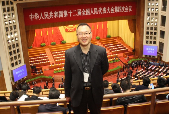 Journalist Oh Guang Jin inside Beijing's Great Hall of the People. He said China-South Korea relations had been warm up until the THAAD crisis. (Courtesy of Oh Guang Jin)