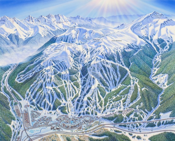Niehus painted the trail map for Copper Mountain Resort, Colorado, for the 2018 season.