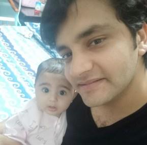Zarrish Khan's cousin Manan Khan with his daughter Misha.