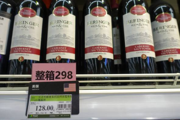 Californian wine sold at a Shanghai supermarket were among the first American products China imposed counter tariffs on in the U.S.-China trade dispute. (Credit: Charles Zhang/Marketplace)