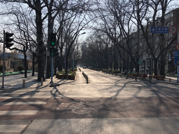 A deserted Sanlitun bar street in Beijing during the Lunar New Year holiday. There are far fewer people on the streets these days but Chinese officials insist residents should always wear a face mask when outdoors. (Courtesy of Wai Wai)