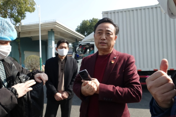 Dasheng face mask factory chairman Wu Shengrong said he cut his Lunar New Year holiday short to restart production as part of China's fight against the virus outbreak. (Credit: Jennifer Pak/Marketplace)