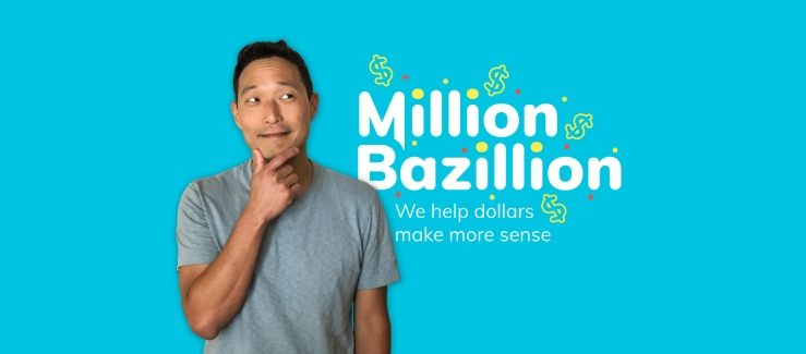 Host Jed Kim with the Million Bazillion logo