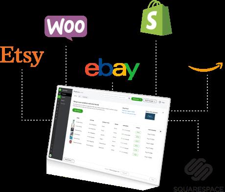 Une illustration d'un écran d'ordinateur avec l'interface de QuickBooks Commerce montrant, et les noms de marque d'Etsy, Woo, eBay, SHopify, Amazon et SquareSpace apparaissant sur les côtés de l'écran.