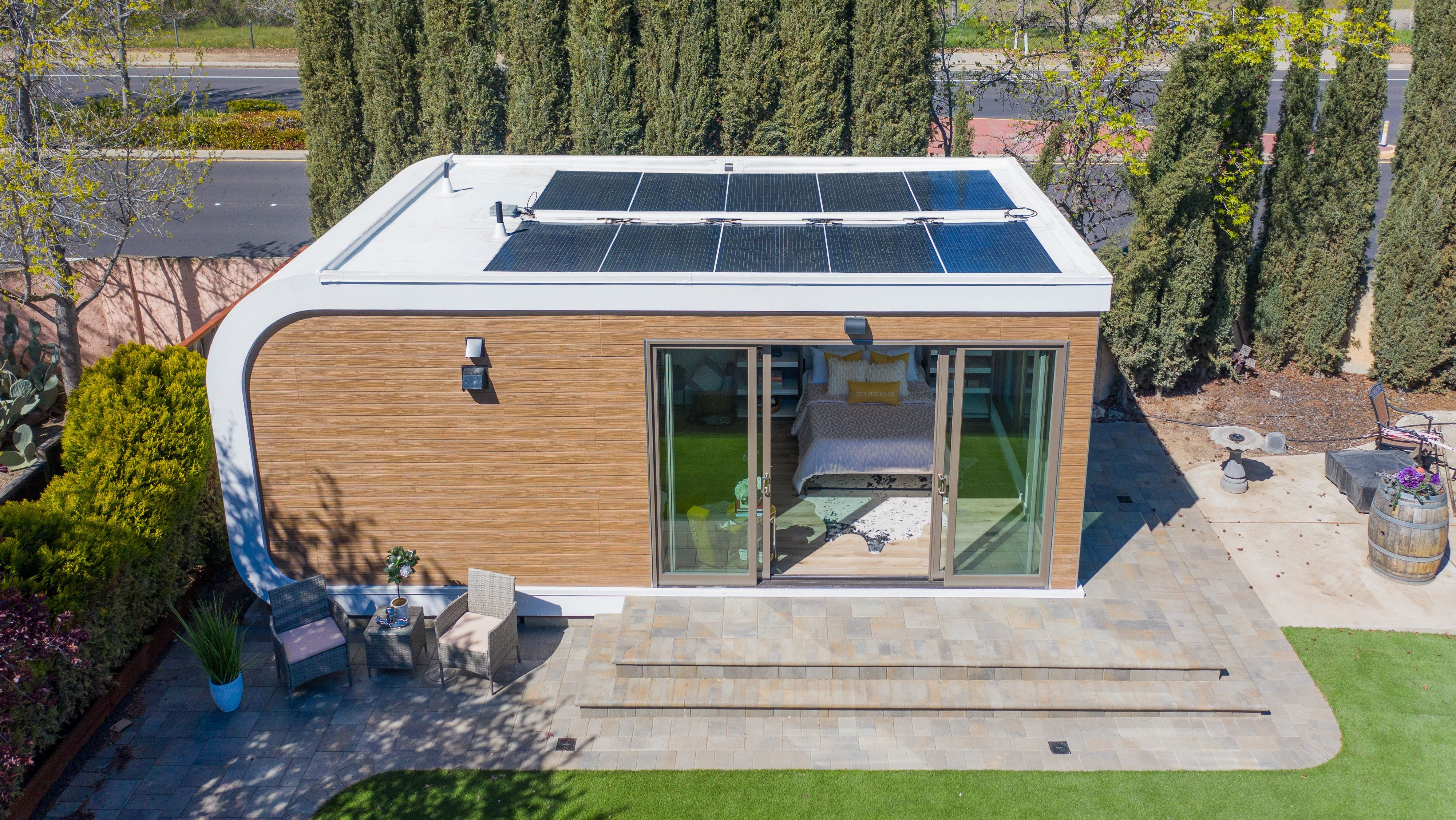 Seen in this photo is a studio home model 3D-printed by Mighty Buildings.