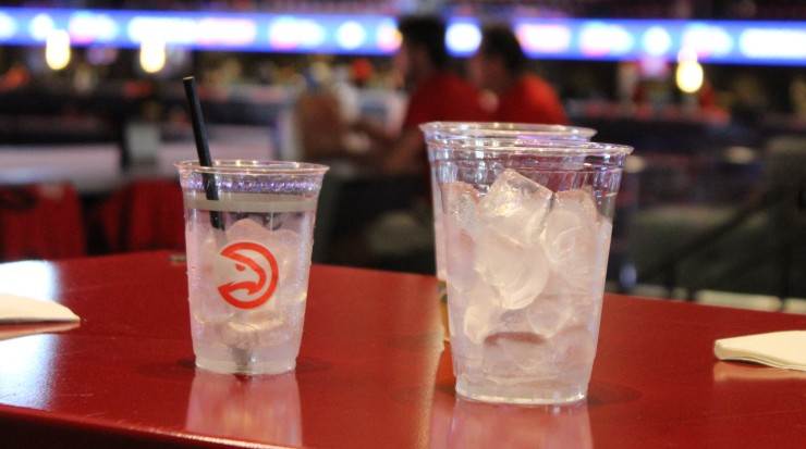 Drinks are served in biodegradable cups during the Atlanta Hawks game.